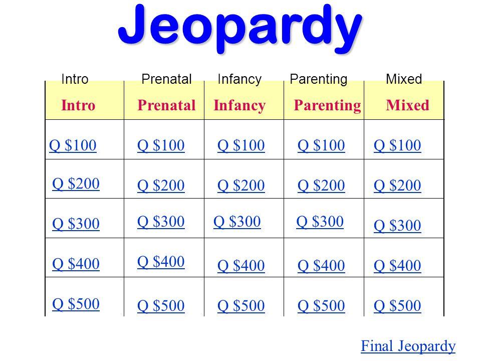 IntroPrenatal InfancyParenting Mixed Q $100 Q $200 Q $300 Q $400 Q $500 Q $100 Q $200 Q $300 Q $400 Q $500 Final JeopardyJeopardy IntroPrenatalInfancyParentingMixed
