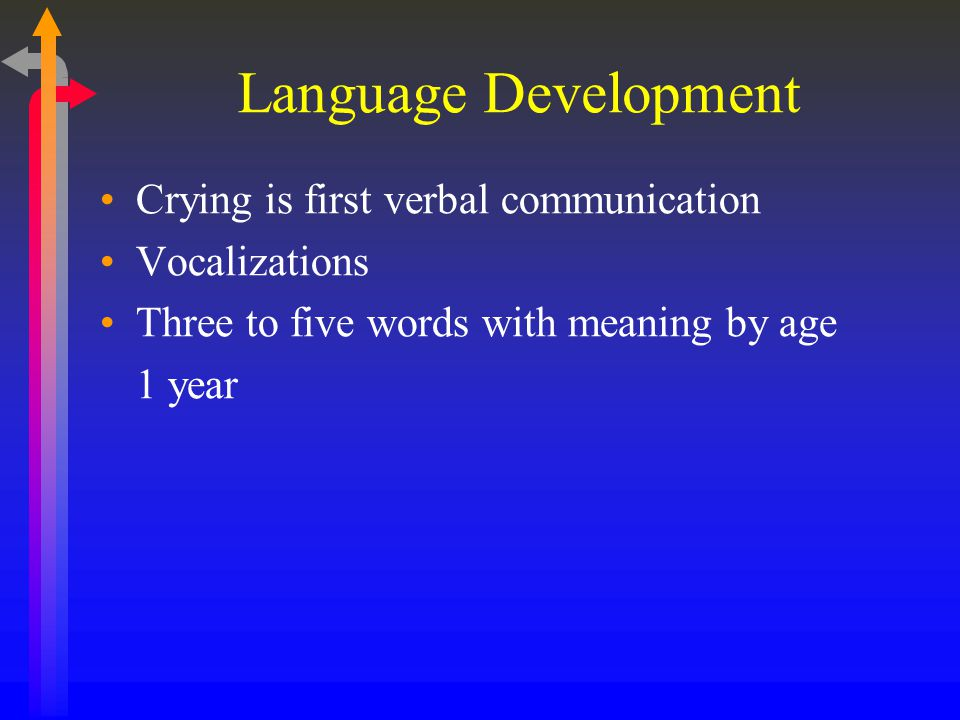 Language Development Crying is first verbal communication Vocalizations Three to five words with meaning by age 1 year