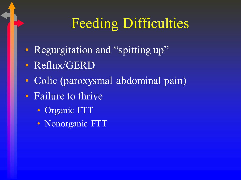 Feeding Difficulties Regurgitation and spitting up Reflux/GERD Colic (paroxysmal abdominal pain) Failure to thrive Organic FTT Nonorganic FTT