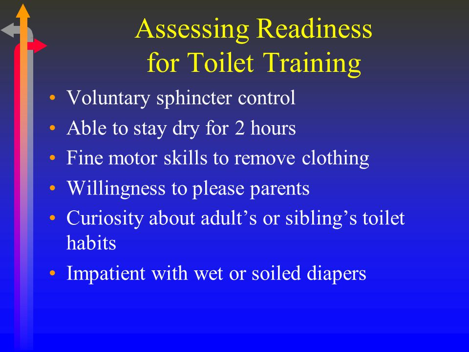 Assessing Readiness for Toilet Training Voluntary sphincter control Able to stay dry for 2 hours Fine motor skills to remove clothing Willingness to please parents Curiosity about adult's or sibling's toilet habits Impatient with wet or soiled diapers