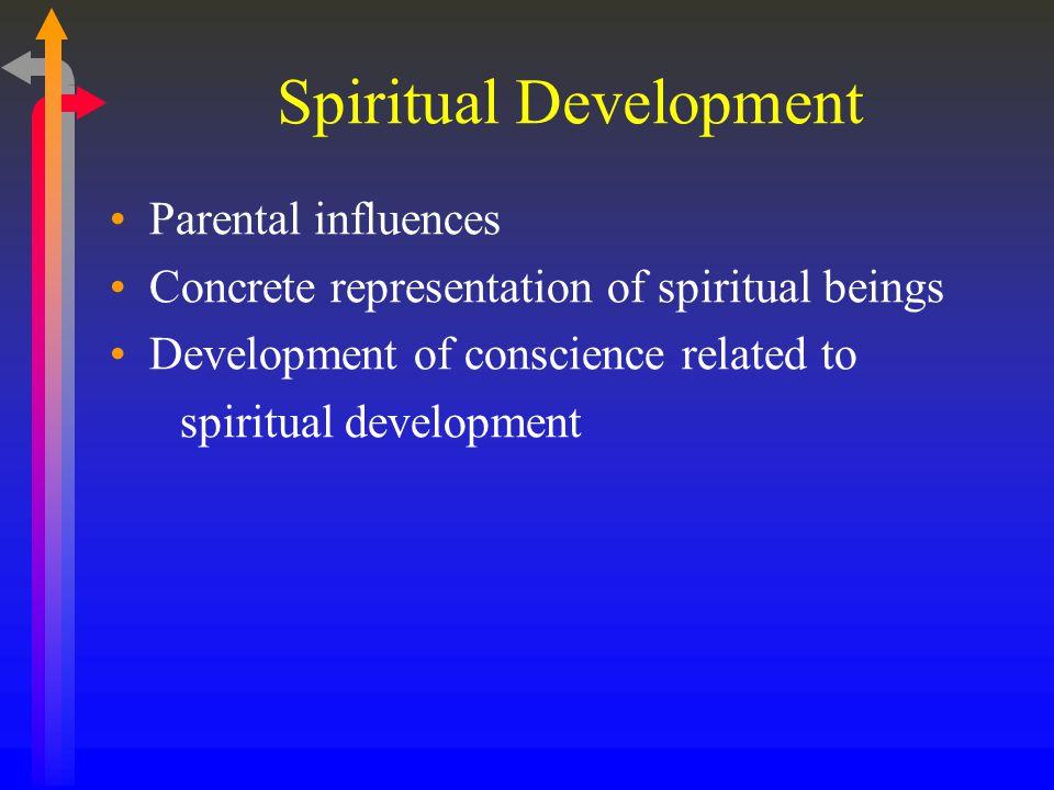 Spiritual Development Parental influences Concrete representation of spiritual beings Development of conscience related to spiritual development