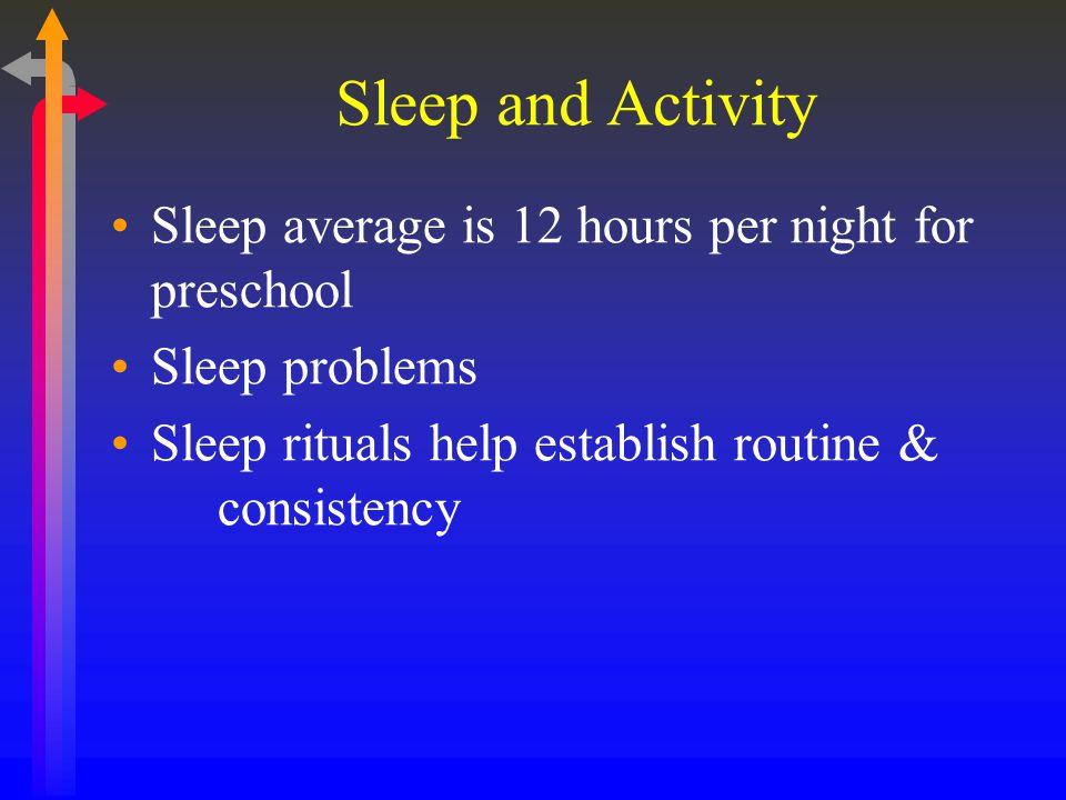 Sleep and Activity Sleep average is 12 hours per night for preschool Sleep problems Sleep rituals help establish routine & consistency