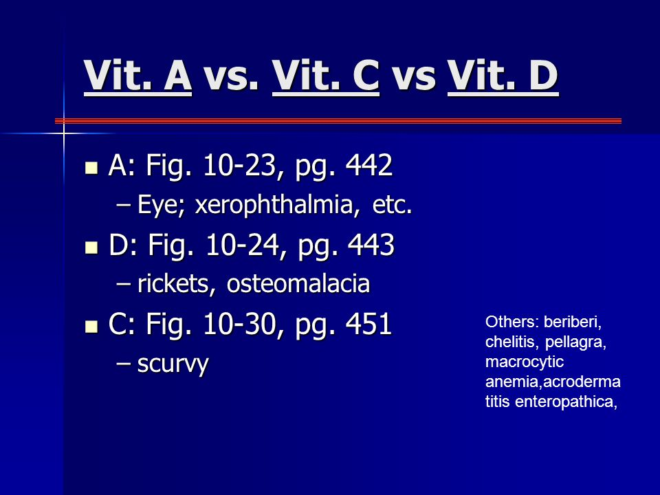 Vit. A vs. Vit. C vs Vit. D A: Fig. 10-23, pg.