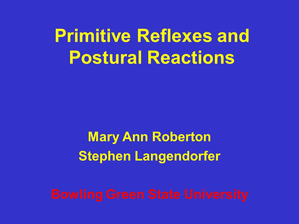 Primitive Reflexes and Postural Reactions Mary Ann Roberton Stephen Langendorfer Bowling Green State University