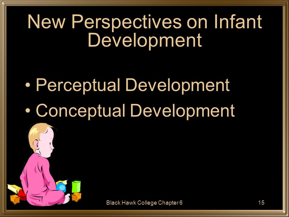 Black Hawk College Chapter 616 Perceptual Development A number of theorists believe that infants' perceptual abilities are highly developed very early in development.