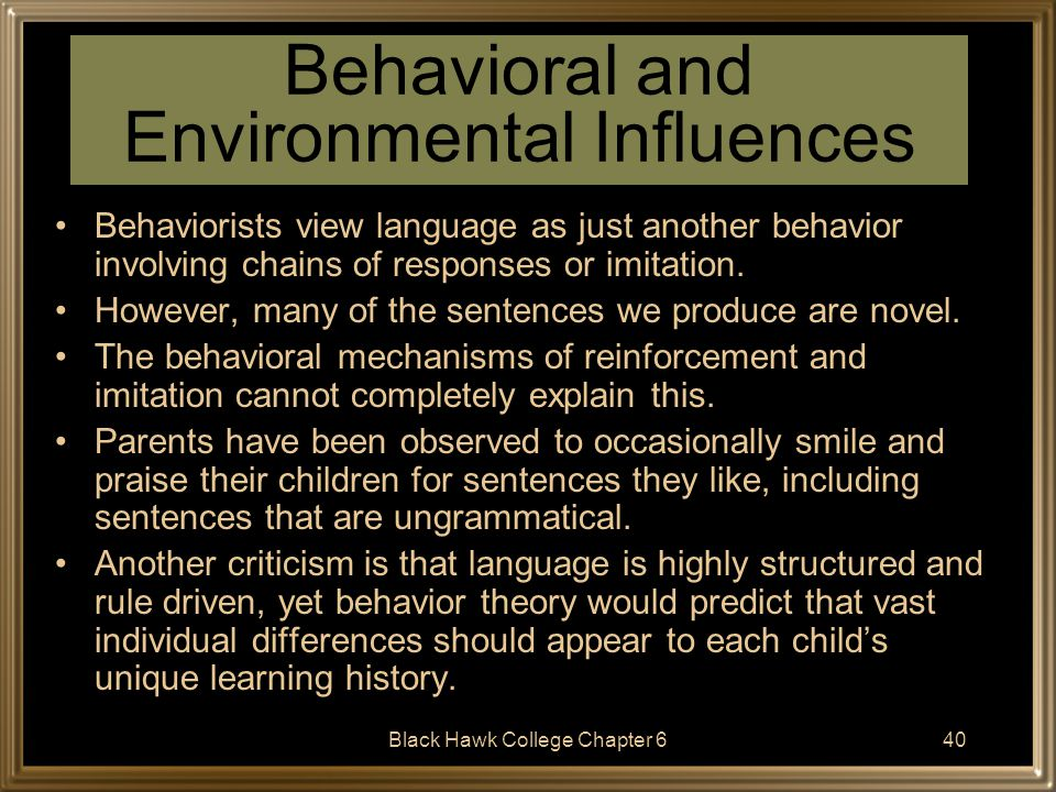 Black Hawk College Chapter 641 The Importance of the Environment We do not learn language in a social vacuum; most children are bathed in language from a very early age.