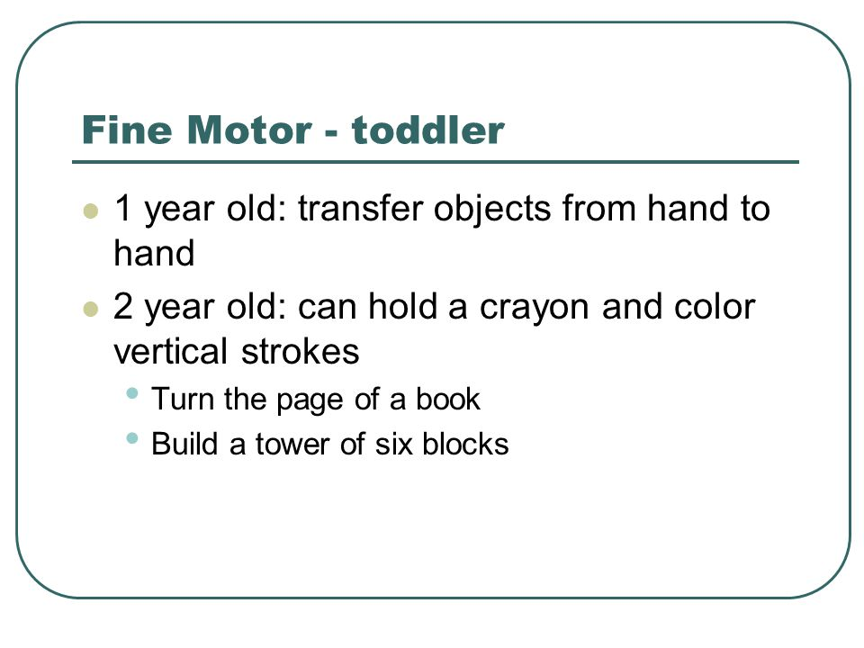 Fine Motor - toddler 1 year old: transfer objects from hand to hand 2 year old: can hold a crayon and color vertical strokes Turn the page of a book B