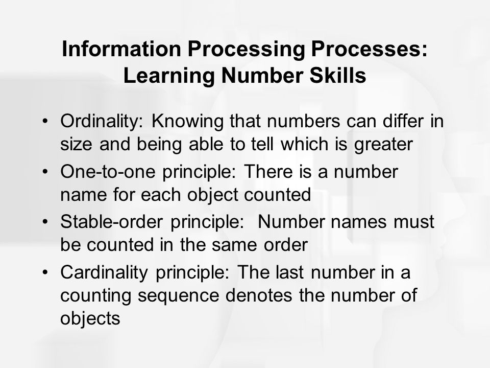 Information Processing Processes: Learning Number Skills Ordinality: Knowing that numbers can differ in size and being able to tell which is greater O
