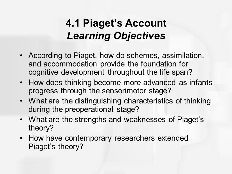 4.1 Piaget's Account Learning Objectives According to Piaget, how do schemes, assimilation, and accommodation provide the foundation for cognitive dev