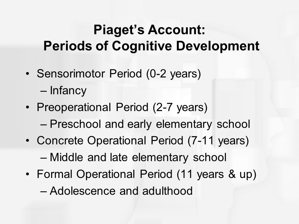Piaget's Account: Periods of Cognitive Development Sensorimotor Period (0-2 years) –Infancy Preoperational Period (2-7 years) –Preschool and early ele