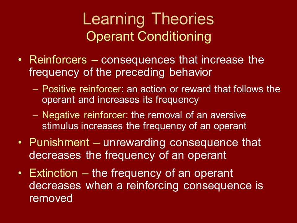 Learning Theories Operant Conditioning Reinforcers – consequences that increase the frequency of the preceding behavior –Positive reinforcer: an actio