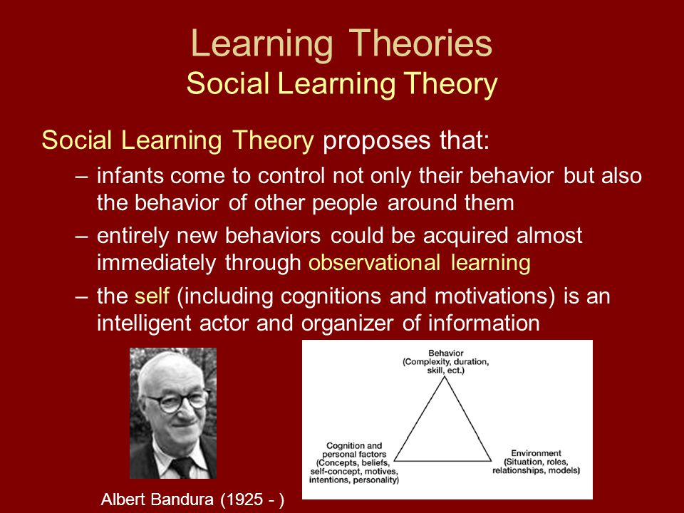 Learning Theories Social Learning Theory Social Learning Theory proposes that: –infants come to control not only their behavior but also the behavior of other people around them –entirely new behaviors could be acquired almost immediately through observational learning –the self (including cognitions and motivations) is an intelligent actor and organizer of information Albert Bandura (1925 - )