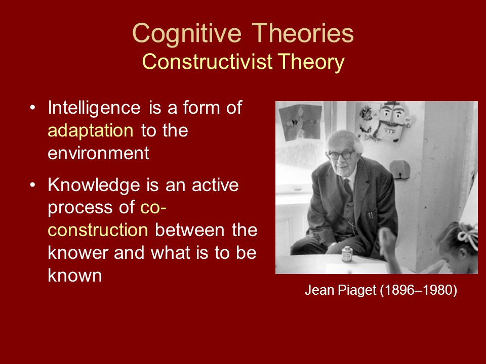 Cognitive Theories Constructivist Theory Intelligence is a form of adaptation to the environment Knowledge is an active process of co- construction be