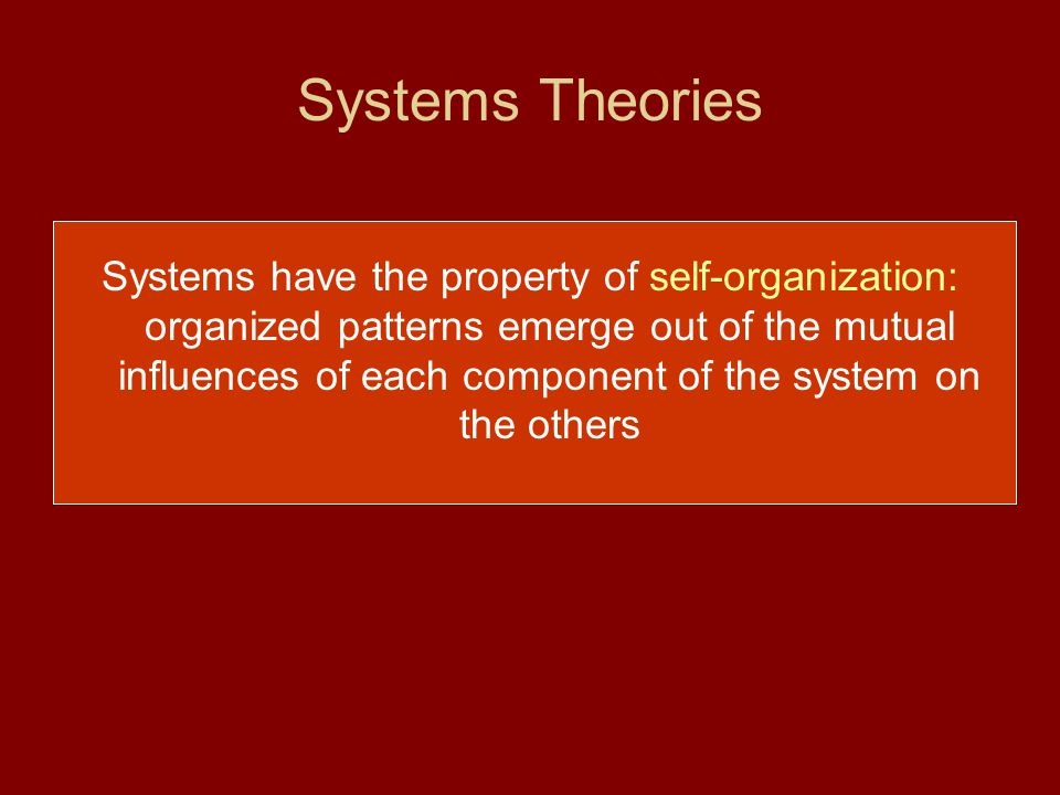Systems Theories Systems have the property of self-organization: organized patterns emerge out of the mutual influences of each component of the system on the others