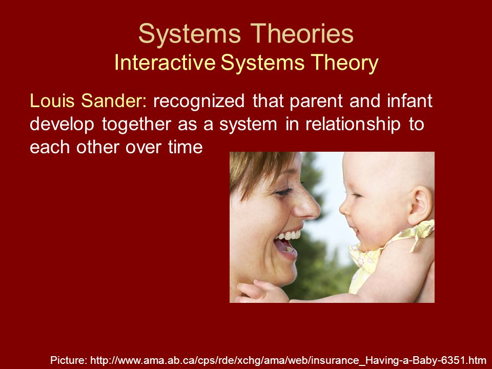 Systems Theories Interactive Systems Theory Louis Sander: recognized that parent and infant develop together as a system in relationship to each other over time Picture: http://www.ama.ab.ca/cps/rde/xchg/ama/web/insurance_Having-a-Baby-6351.htm