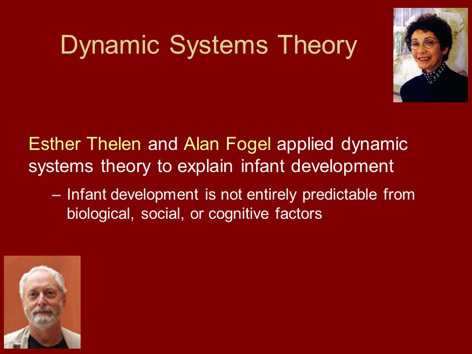 Dynamic Systems Theory Esther Thelen and Alan Fogel applied dynamic systems theory to explain infant development –Infant development is not entirely predictable from biological, social, or cognitive factors