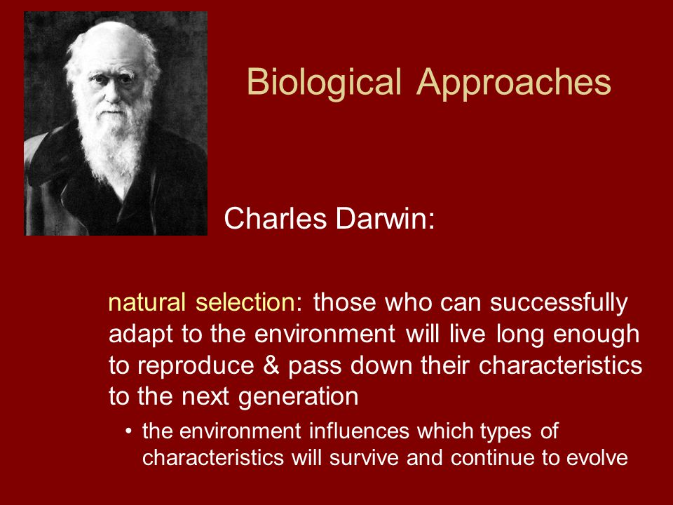 Biological Approaches Charles Darwin: natural selection: those who can successfully adapt to the environment will live long enough to reproduce & pass