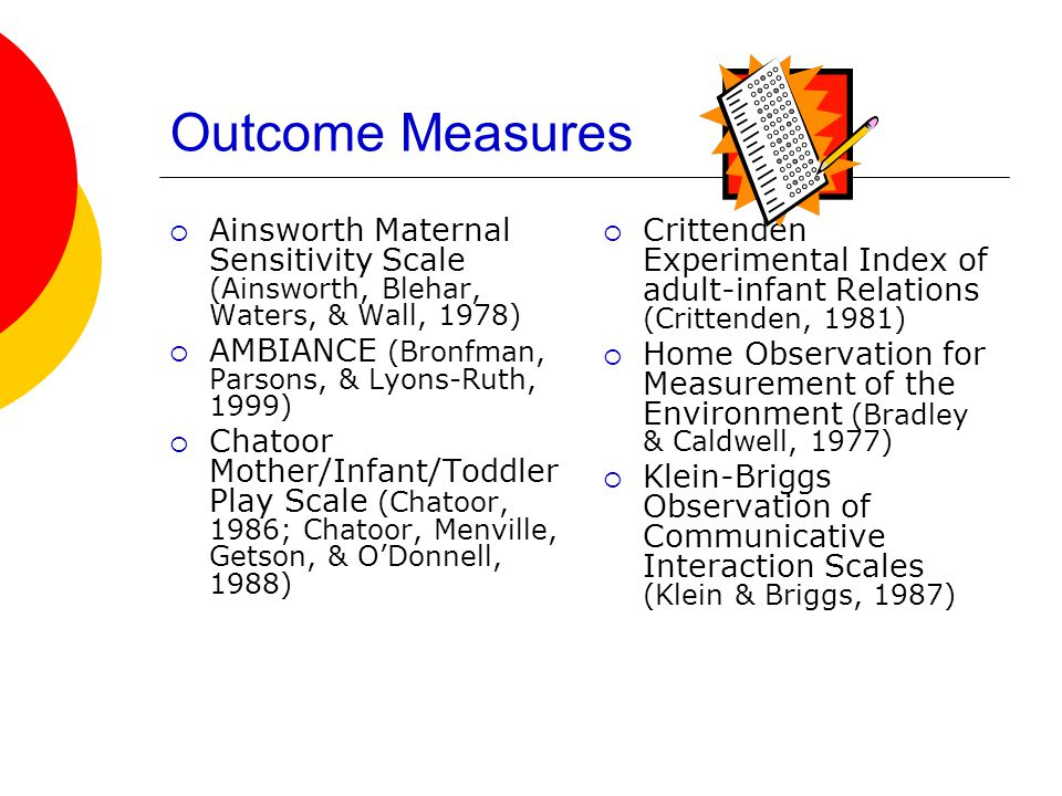 Outcome Measures  Ainsworth Maternal Sensitivity Scale (Ainsworth, Blehar, Waters, & Wall, 1978)  AMBIANCE (Bronfman, Parsons, & Lyons-Ruth, 1999)  Chatoor Mother/Infant/Toddler Play Scale (Chatoor, 1986; Chatoor, Menville, Getson, & O'Donnell, 1988)  Crittenden Experimental Index of adult-infant Relations (Crittenden, 1981)  Home Observation for Measurement of the Environment (Bradley & Caldwell, 1977)  Klein-Briggs Observation of Communicative Interaction Scales (Klein & Briggs, 1987)