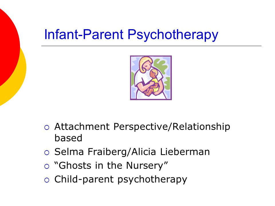 Infant-Parent Psychotherapy  Attachment Perspective/Relationship based  Selma Fraiberg/Alicia Lieberman  Ghosts in the Nursery  Child-parent psychotherapy