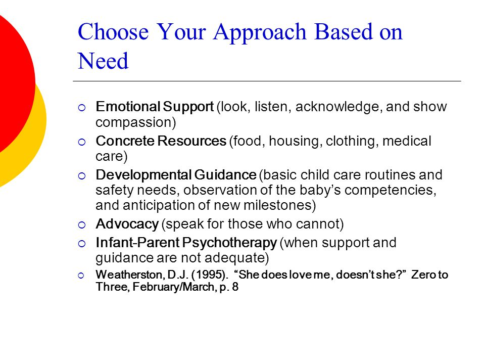 Choose Your Approach Based on Need  Emotional Support (look, listen, acknowledge, and show compassion)  Concrete Resources (food, housing, clothing, medical care)  Developmental Guidance (basic child care routines and safety needs, observation of the baby's competencies, and anticipation of new milestones)  Advocacy (speak for those who cannot)  Infant-Parent Psychotherapy (when support and guidance are not adequate)  Weatherston, D.J.