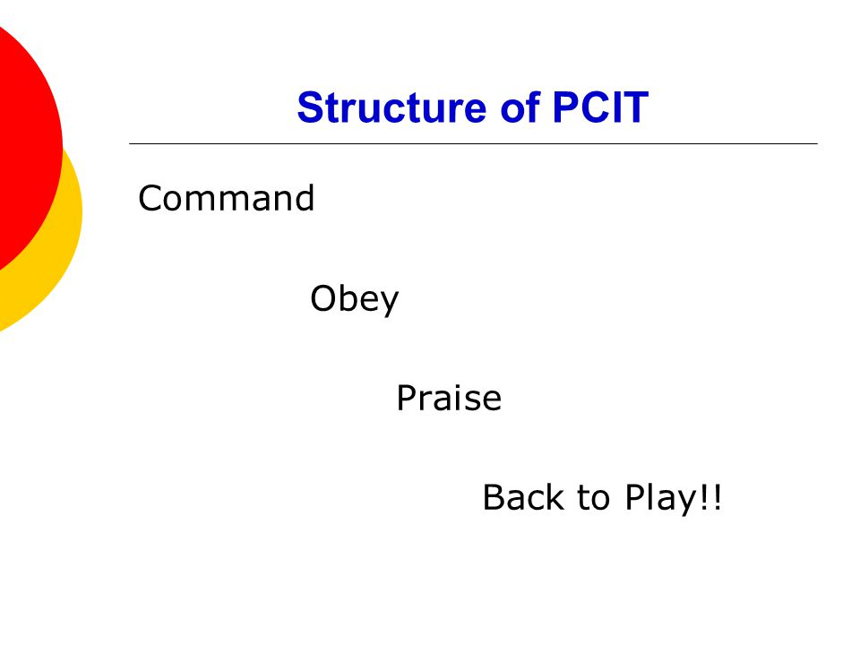 Structure of PCIT Command Obey Praise Back to Play!!