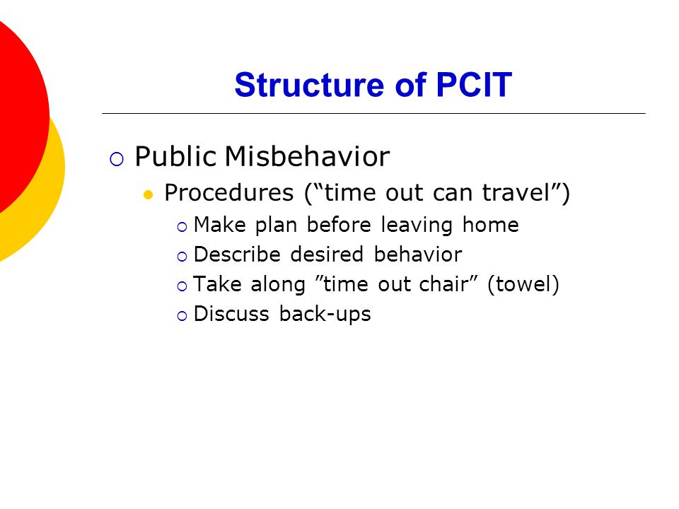 Structure of PCIT  Public Misbehavior Procedures ( time out can travel )  Make plan before leaving home  Describe desired behavior  Take along time out chair (towel)  Discuss back-ups