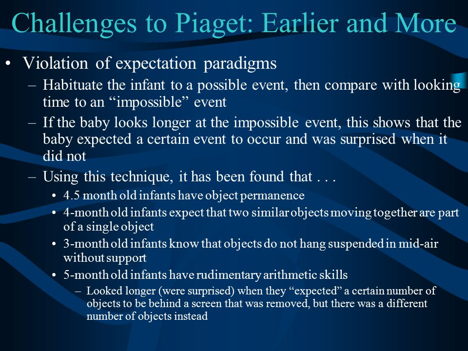 Challenges to Piaget: Earlier and More Violation of expectation paradigms –Habituate the infant to a possible event, then compare with looking time to