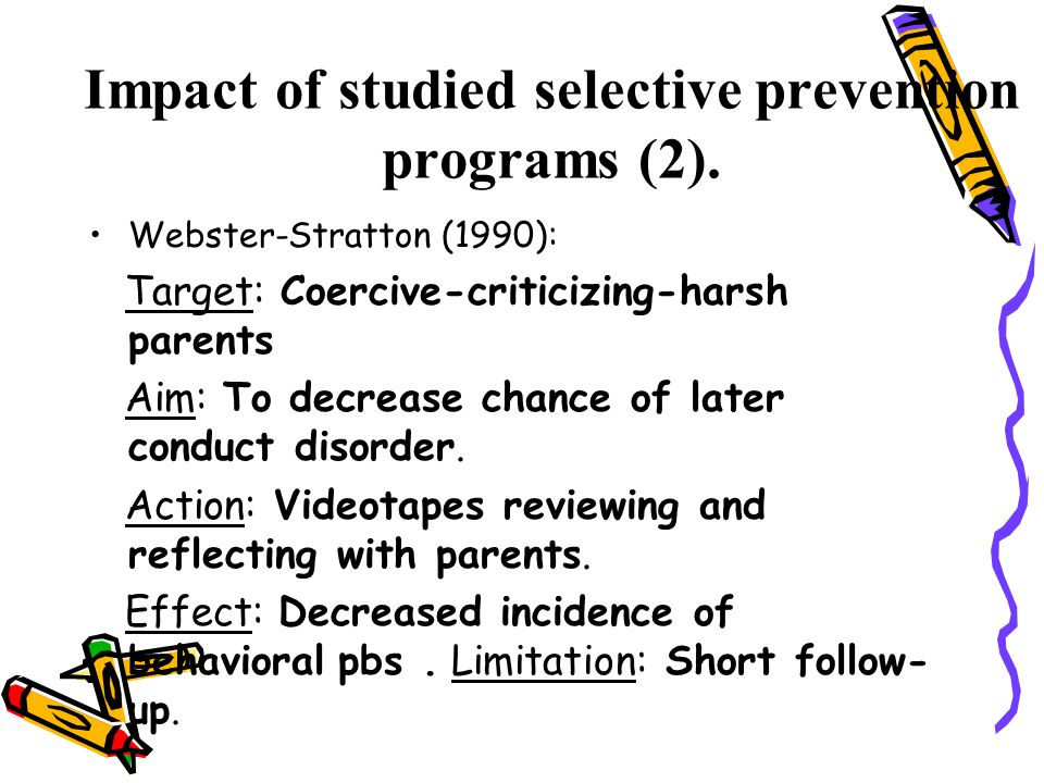 Impact of studied selective prevention programs (2).
