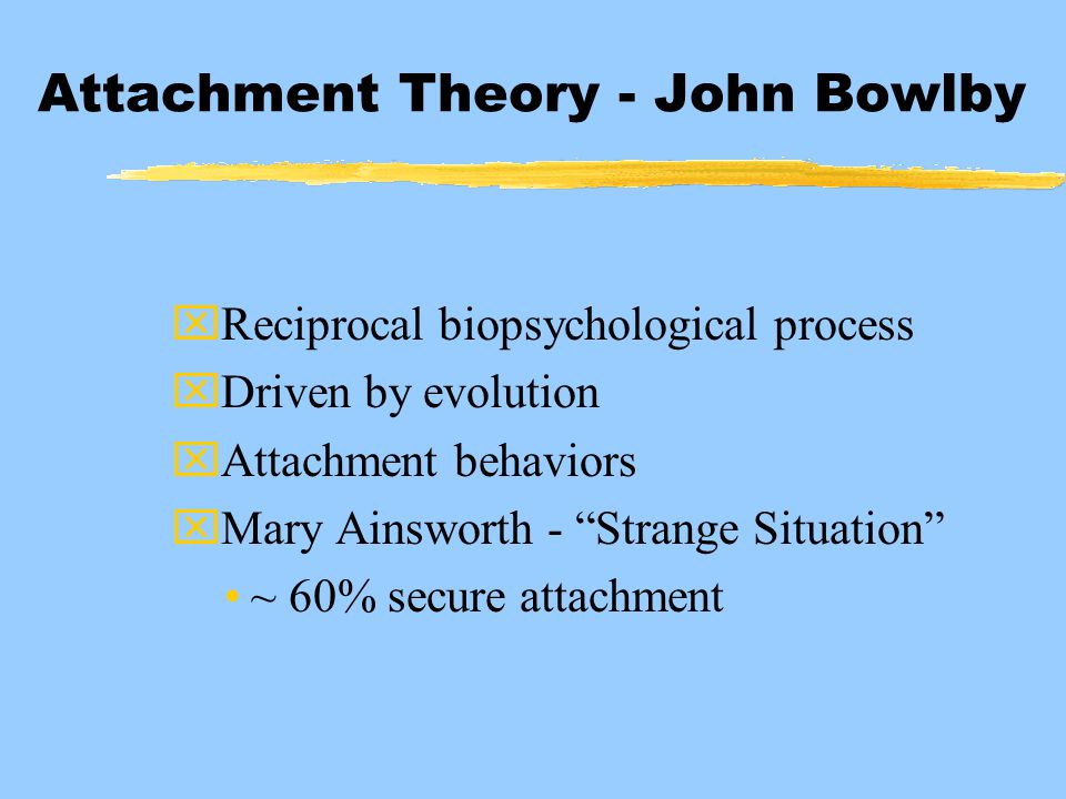 "Attachment Theory - John Bowlby xReciprocal biopsychological process xDriven by evolution xAttachment behaviors xMary Ainsworth - ""Strange Situation"""