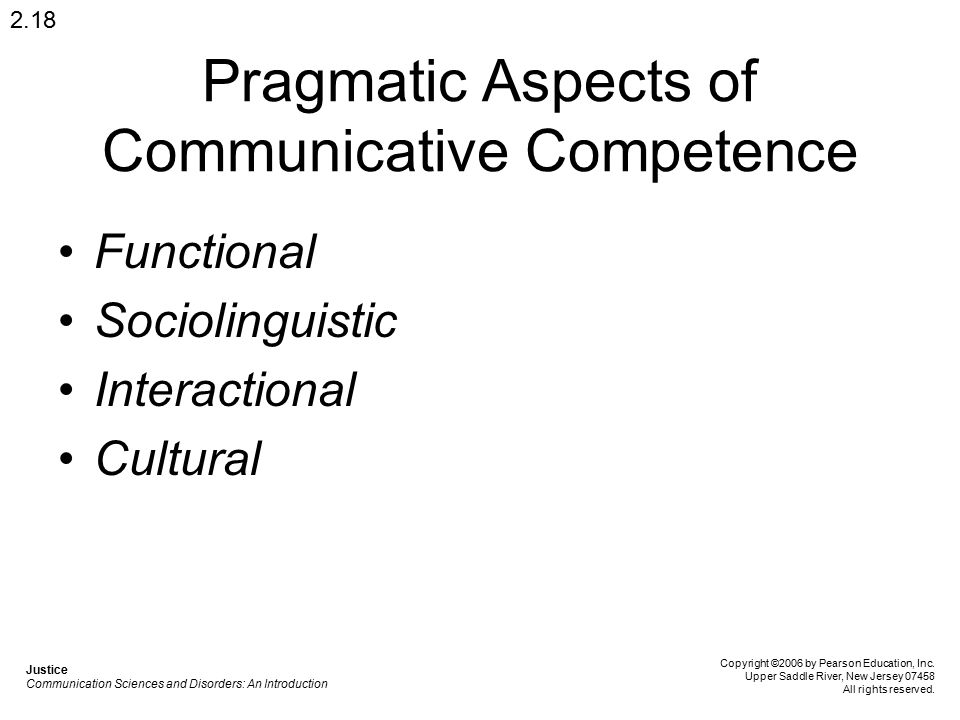 Pragmatic Aspects of Communicative Competence Functional Sociolinguistic Interactional Cultural 2.18 Justice Communication Sciences and Disorders: An