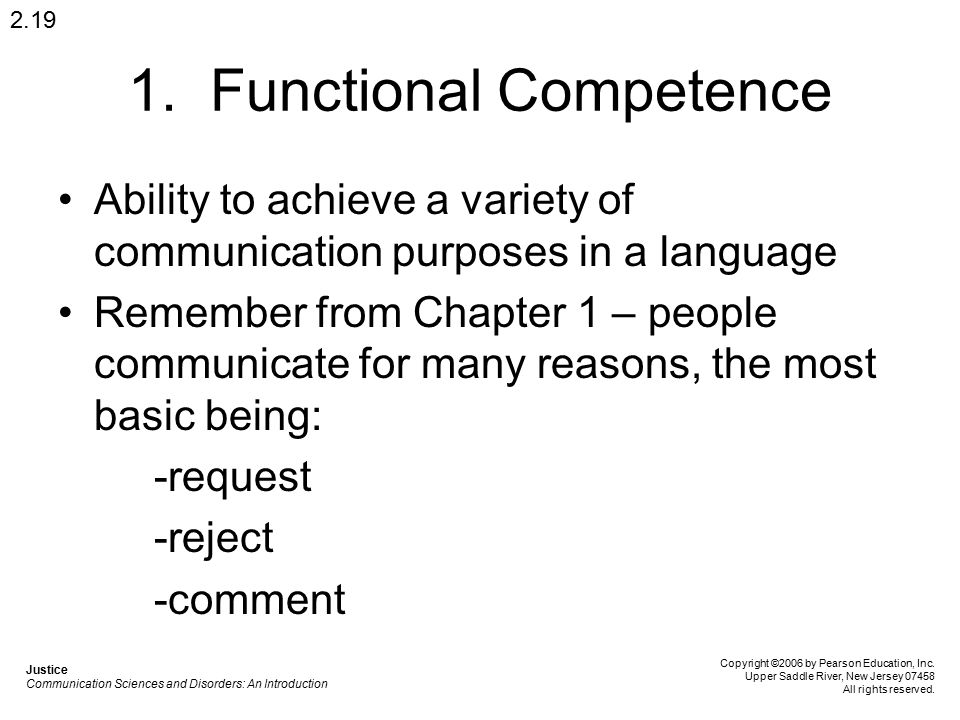1. Functional Competence Ability to achieve a variety of communication purposes in a language Remember from Chapter 1 – people communicate for many re