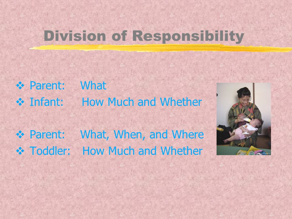 Division of Responsibility  Parent: What  Infant: How Much and Whether  Parent: What, When, and Where  Toddler: How Much and Whether