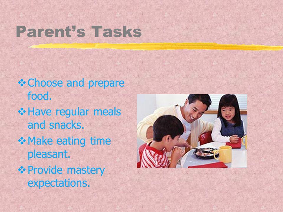 Parent's Tasks  Choose and prepare food. Have regular meals and snacks.