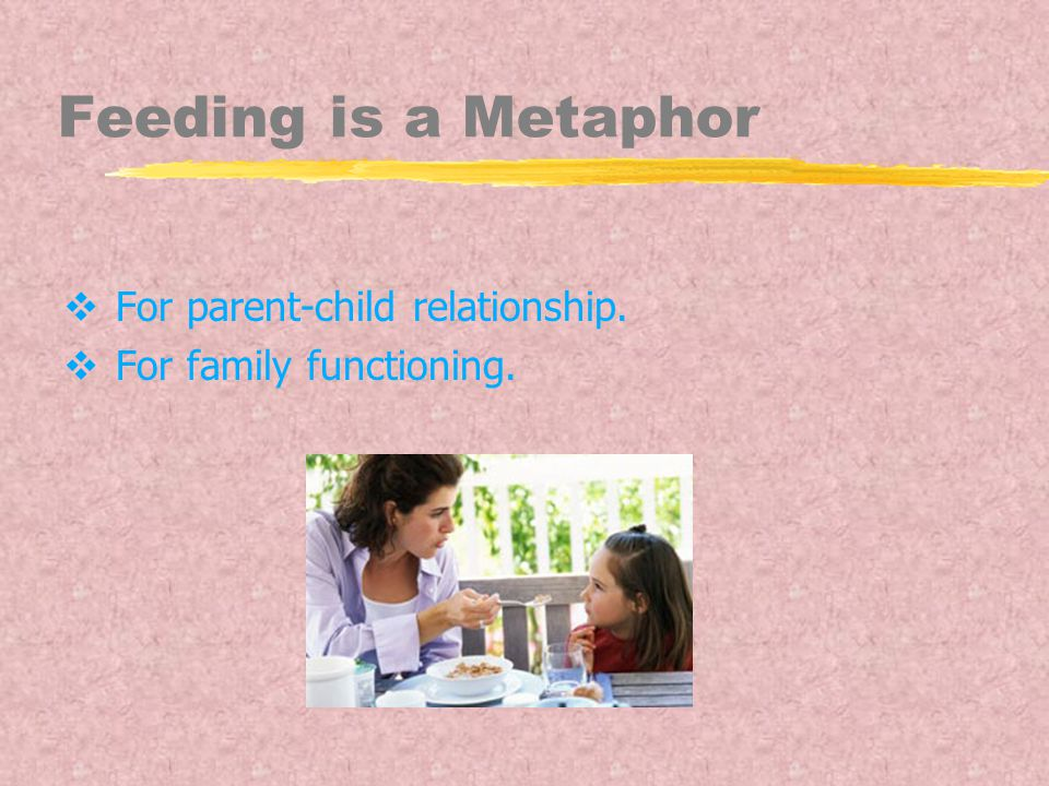 Feeding is a Metaphor  For parent-child relationship.  For family functioning.