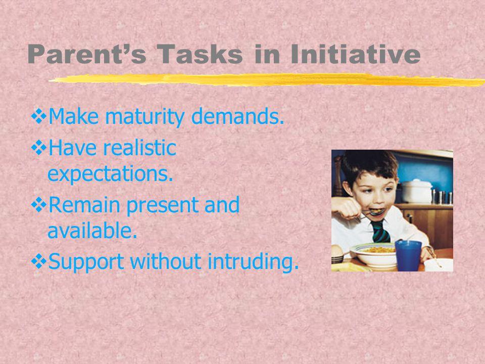 Parent's Tasks in Initiative  Make maturity demands.