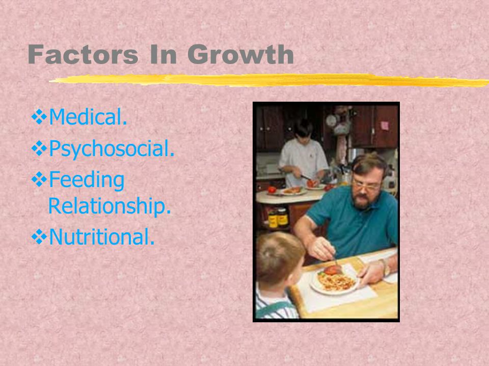 Factors In Growth  Medical.  Psychosocial.  Feeding Relationship.  Nutritional.