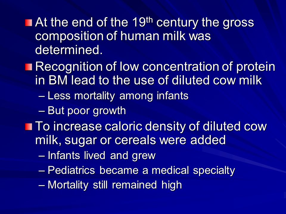 At the end of the 19 th century the gross composition of human milk was determined.