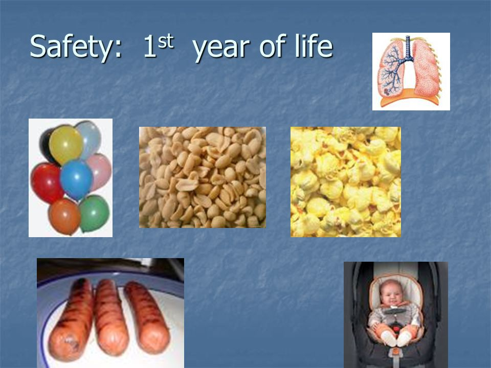 Safety in Childhood Prevent aspiration -especially 1 st year Prevent falls -from birth Prevent Poisonings -especially after walking & during toddlers years Prevent Burns -especially after walking and thru school age Prevent injury from firearms especially school- age Prevent drowning- especially after walking Implement Car Safety -from birth