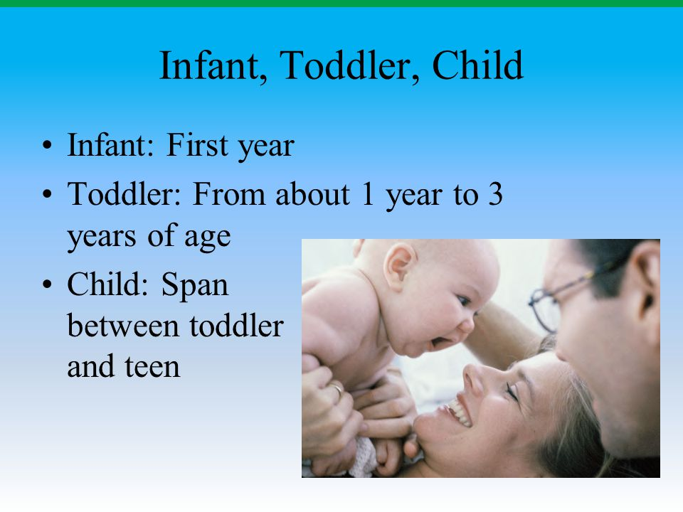 Infant, Toddler, Child Infant: First year Toddler: From about 1 year to 3 years of age Child: Span between toddler and teen