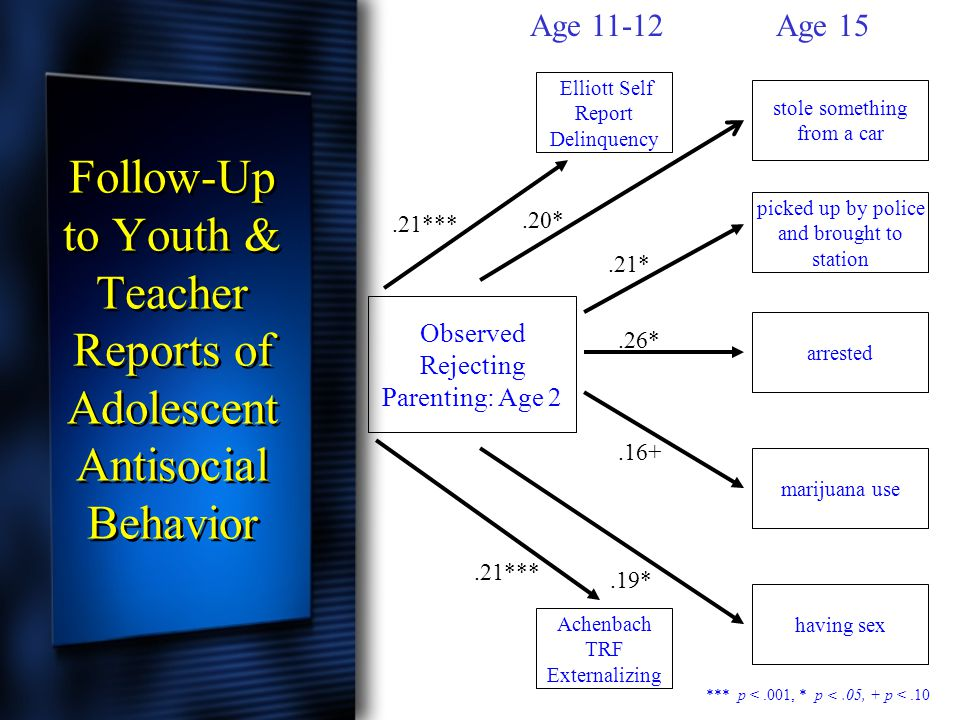 Follow-Up to Youth & Teacher Reports of Adolescent Antisocial Behavior Observed Rejecting Parenting: Age 2 stole something from a car picked up by pol