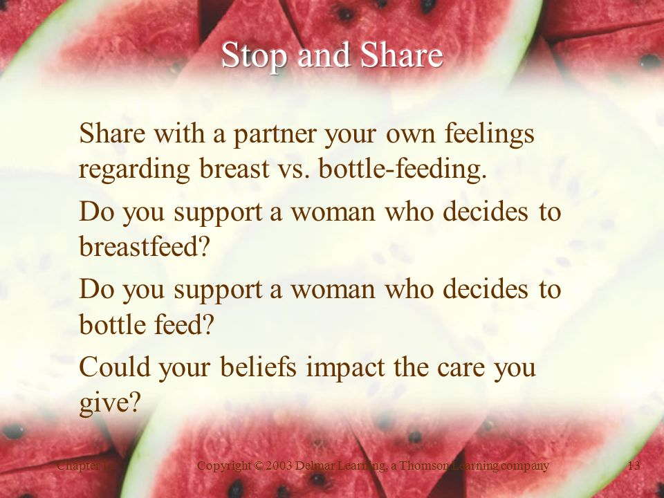 Chapter 12Copyright © 2003 Delmar Learning, a Thomson Learning company13 Share with a partner your own feelings regarding breast vs.