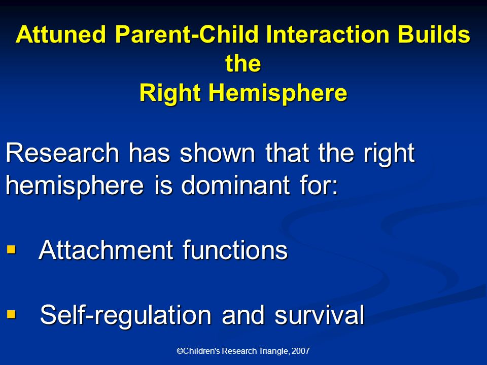 ©Children s Research Triangle, 2007 Attuned Parent-Child Interaction Builds the Right Hemisphere Research has shown that the right hemisphere is dominant for:  Attachment functions  Self-regulation and survival