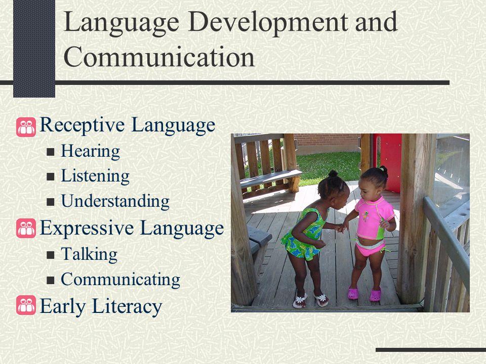 Language Development and Communication Receptive Language Hearing Listening Understanding Expressive Language Talking Communicating Early Literacy