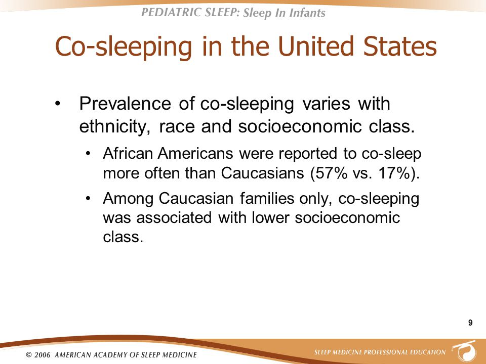 9 Co-sleeping in the United States Prevalence of co-sleeping varies with ethnicity, race and socioeconomic class.