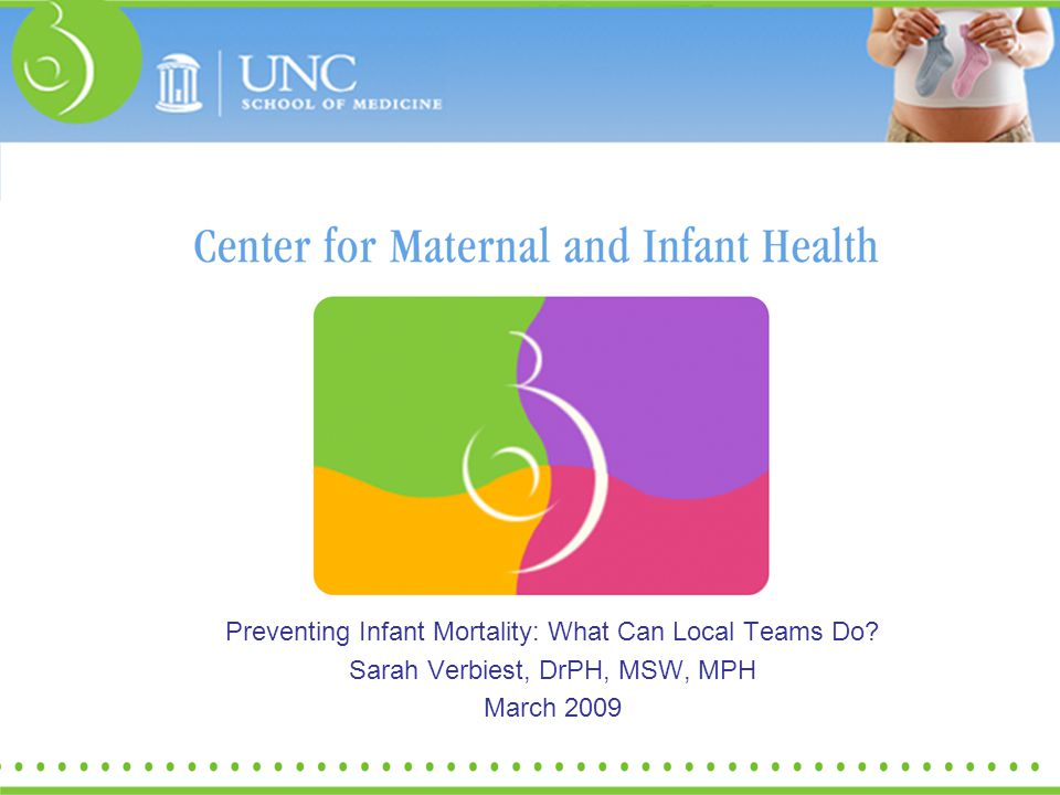 Preventing Infant Mortality: What Can Local Teams Do? Sarah Verbiest, DrPH, MSW, MPH March 2009