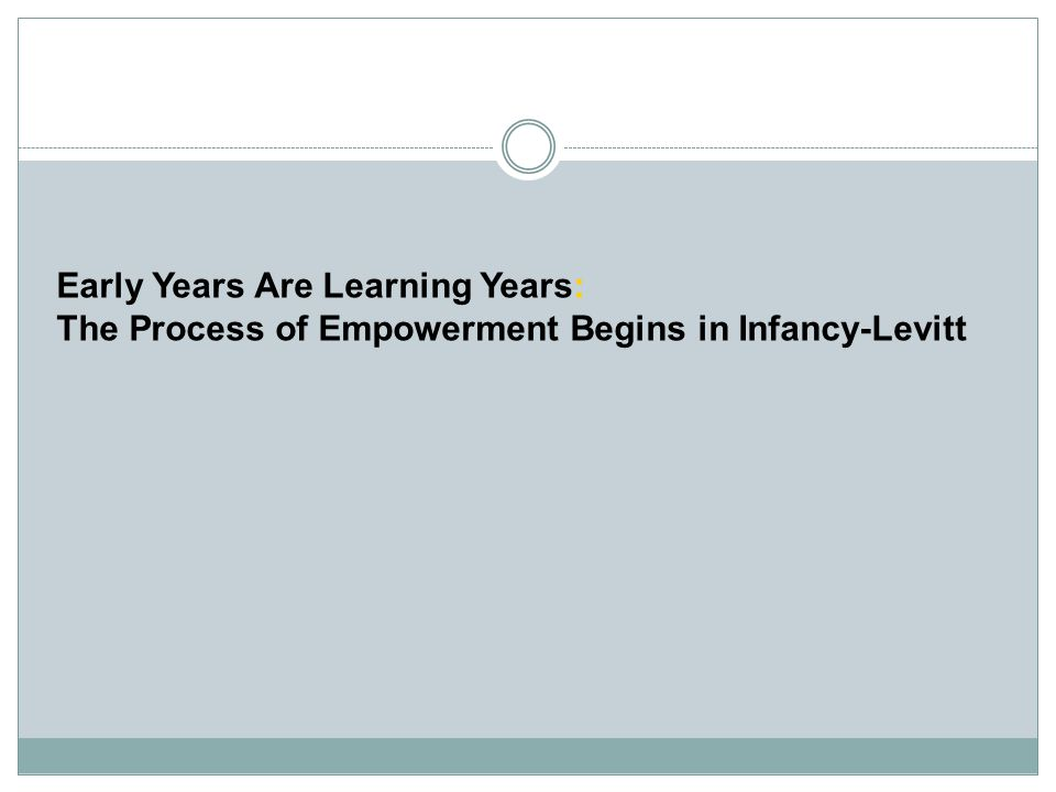 Early Years Are Learning Years: The Process of Empowerment Begins in Infancy-Levitt