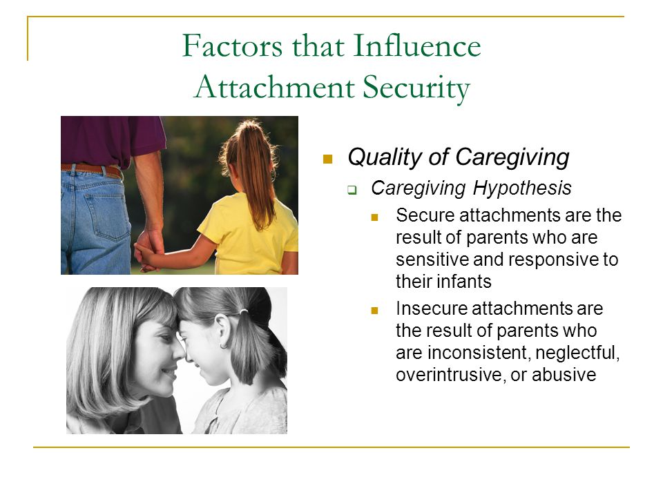 Factors that Influence Attachment Security Quality of Caregiving  Caregiving Hypothesis Secure attachments are the result of parents who are sensitiv