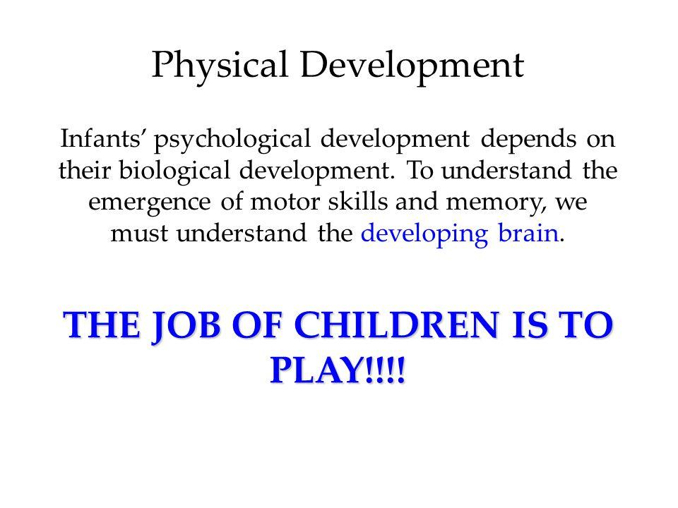 Physical Development Infants' psychological development depends on their biological development. To understand the emergence of motor skills and memor