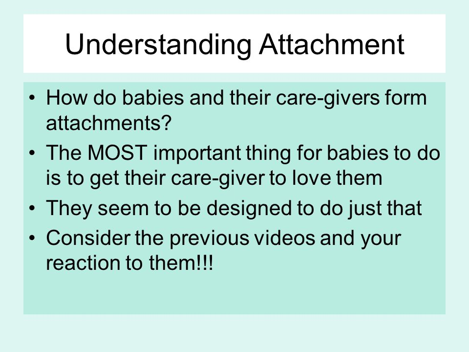 Understanding Attachment How do babies and their care-givers form attachments.