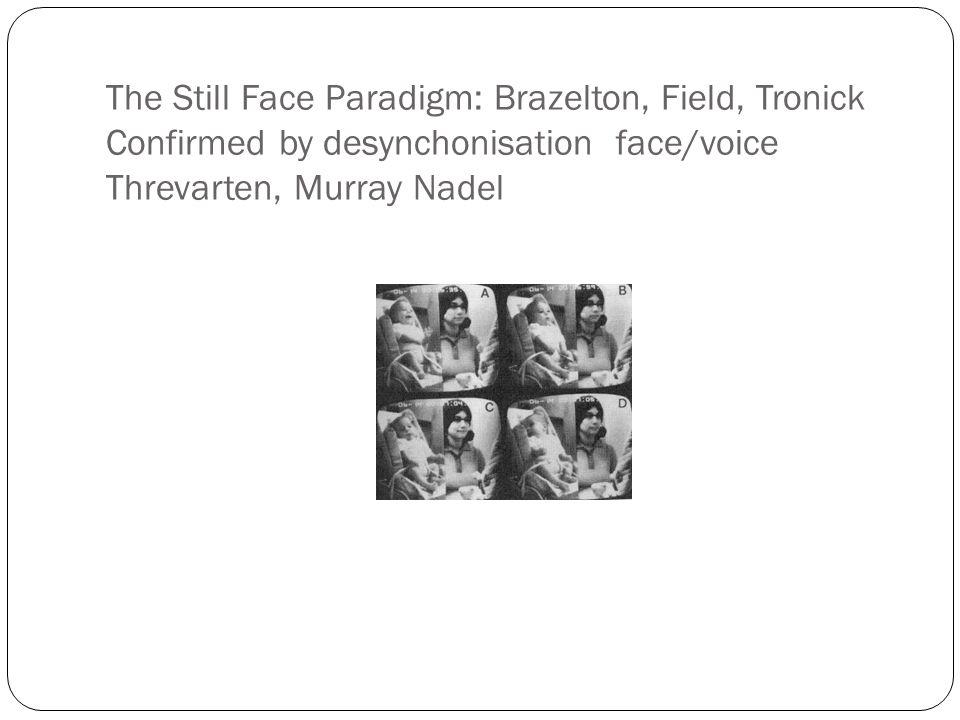 The Still Face Paradigm: Brazelton, Field, Tronick Confirmed by desynchonisation face/voice Threvarten, Murray Nadel